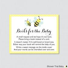 instead of a card bring a book bumble bee baby shower printable bring a book instead of a