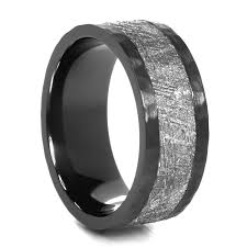 meteorite mens wedding band lashbrook astro black zirconium meteorite ring 9mm