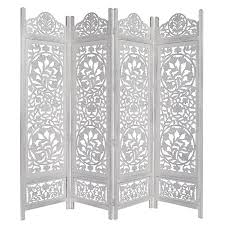 amazon com kamal the lotus antique white 4 panel handcrafted wood