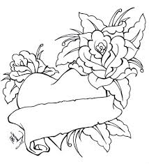 coloring pictures of hearts and roses printable of heart and roses
