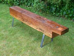 vintage wood benches with steel bench legs modern legs