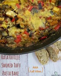 ratatouille smoked tofu pasta bake for your vegan thanksgiving