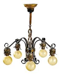refinished five arm bare bulb polychrome 1920 u0027s chicago bungalow