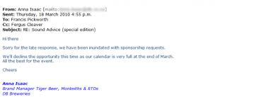 sponsorship rejection the importance of being gracious in defeat