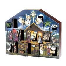 nativity advent calendar byers choice solid wooden nativity advent calendar the christmas loft
