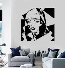 vinyl wall decal pop art beauty salon woman stickers ig3816