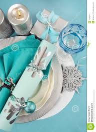 Christmas Table Decorations Blue And White by Christmas Table Place Settings In Aqua Blue Silver And White