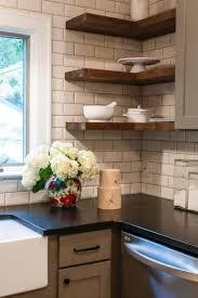 appliances subway tile backsplash with corner kitchen shelf