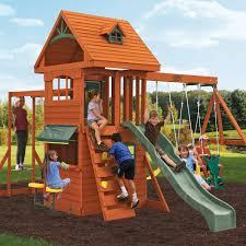 big backyard ridgeview deluxe clubhouse wooden swing set