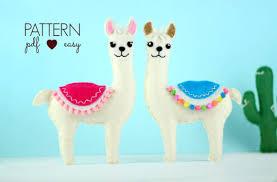 felt pattern llama sewing pattern felt animal pattern llama