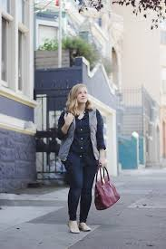 kelsey o brien navy plaid shirt navy quilted vest