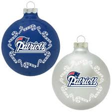 topperscot new patriots nfl home and away glass ornament set