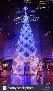 christmas tree outside raffles city shopping mall city hall stock