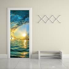 self adhesive wall paper the sea and sunset door stickers 3d pvc self adhesive wallpaper
