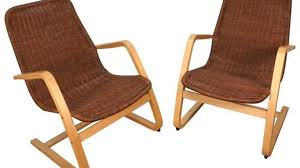 pair of alvar aalto style wicker lounge chairs for sale at 1stdibs