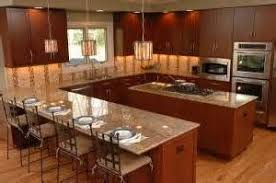 g shaped kitchen with island stone countertops mix acrylic sink