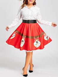 christmas skirt plus size christmas print flare pom pom trimmed skirt xl in
