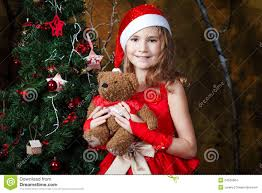 cute little near a christmas tree stock images image 34526504