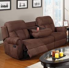 Microfiber Reclining Sofa Poundex F7049 Chocolate Finish Microfiber Reclining Sofa With Console