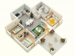 3d three bedroom house layout design plans 23034 interior ideas