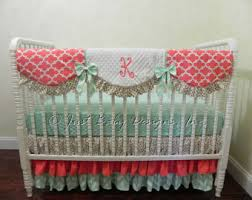 Coral And Mint Bedding Girls Bedding Etsy