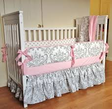 crib bedding baby bedding set pink gray damask made to