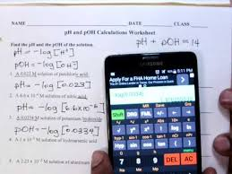 Ph Worksheet Ph And Poh Calculations Worksheet