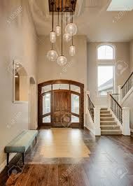 entryway and foyer in new luxury home interior stock photo