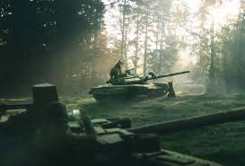forest bears tank morning pine forest weapon nature russia art