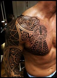 special black polynesian tattoo on chest for men real photo