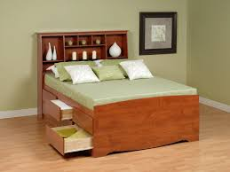 Anna White Bookcase by Platform Bed San Mateo Oak Queen Spindle Captains Bed Mor