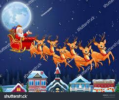 santa claus riding his reindeer sleigh stock illustration