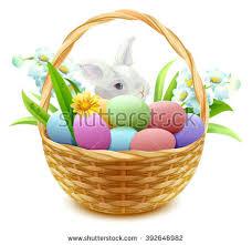 rabbit easter basket easter basket stock images royalty free images vectors