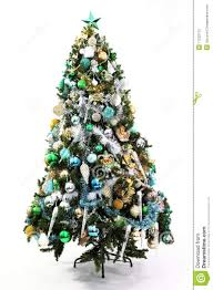 accessories licious christmas tree blue green and gold stock