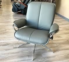 Grey Leather Recliner Stressless City Low Back Batick Grey Chrome Base Leather Recliner