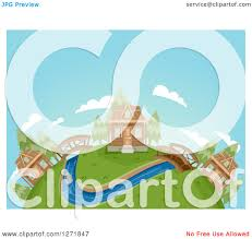 clipart of a globe with a cabin village bridges and a river
