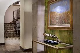 Interior Waterfall Limestone Sculpture Hall Mediterranean With Iron Railing Mounted