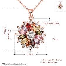 color flower necklace images Beautiful rose gold color flower pendant necklace sals enterprise jpg