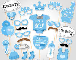 blue baby shower baby shower photo booth props etsy