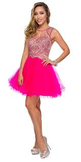 juliet 761 fuchsia short prom dress embellished bodice with