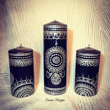 bougie hennã mariage henna candle set black and silver for the home