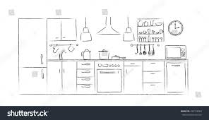 Interior Design Furniture Sketches Kitchen Interior Sketches Hand Drawing Front Stock Vector