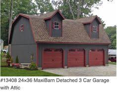 Three Car Garage With Apartment Plans Detached Garages Plans Red Vinyl 10579 20x40 Attic Three Car