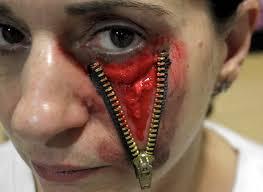 maquillaje para disfraz de halloween ojo con cremallera zipped