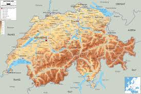Physical Features Of Europe Map by Physical Map Of Switzerland Ezilon Maps