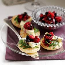 bellini canape blueberry and stilton blinis recipe
