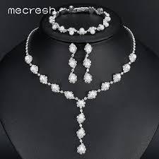 wedding necklace bride images Mecresh simulated pearl bride wedding jewelry sets simple crystal jpg