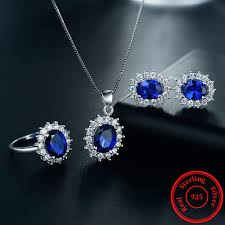 sapphire earrings necklace set images Limited edition sapphire color gemstone sterling silver jewelry jpg