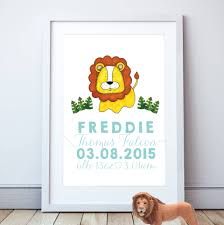 lion print personalised lion print by cows u0026 kisses notonthehighstreet com