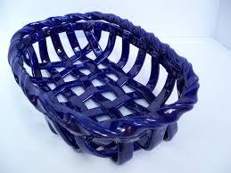woven ceramic basket in cobalt blue fruit bowl bread warmer